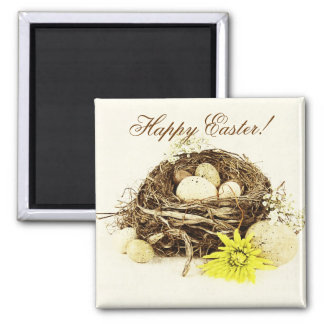 Bird's nest with eggs Happy easter Fridge Magnets
