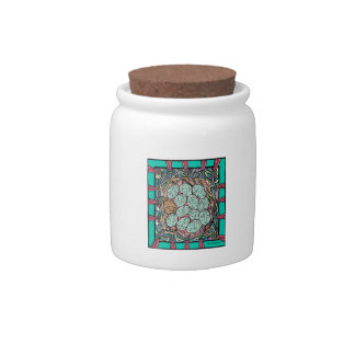 Bird's nest with gold and blue speckled eggs candy jar