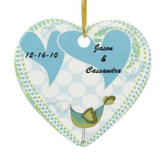 Birds of a Feather Customized Wedding Keepsake ornament