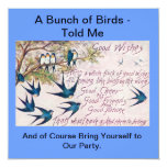 """Birds of a Feather Invite Together 5.25"""" Square Invitation Card"""