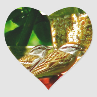 Birds of  a Feather Stick Together Heart Sticker
