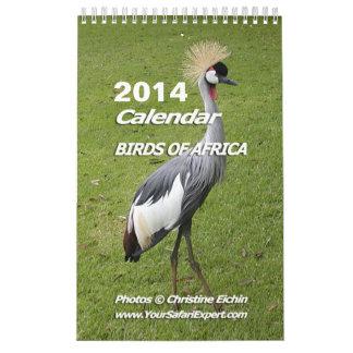 BIRDS OF AFRICA Calendar 2014 (Single Page)
