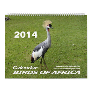 BIRDS OF AFRICA Calendar 2014 (Two Page)