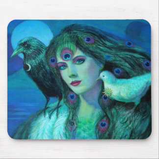 """""""Birds of Duality- Peacock Lady"""" Mouse Pads"""