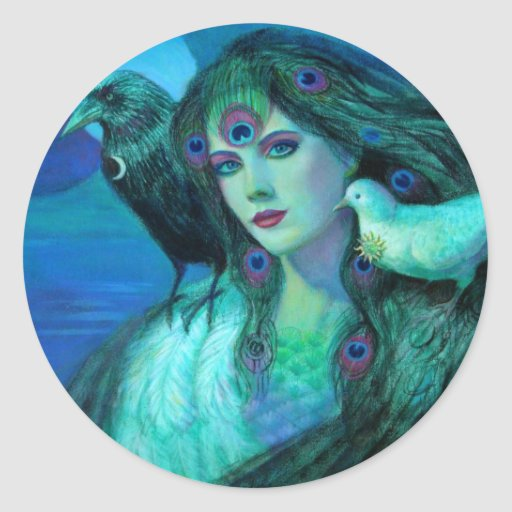"""Birds of Duality- Peacock Lady"" Round Sticker"