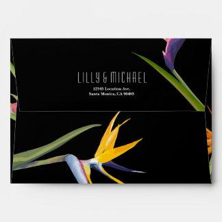 Birds of paradise Floral Wedding Envelope
