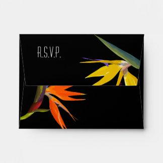 Birds of paradise Floral Wedding Response Envelope