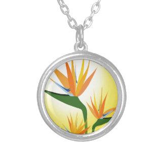 BIRDS OF PARADISE FLOWER DESIGN ROUND PENDANT NECKLACE