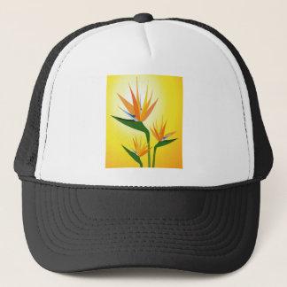 BIRDS OF PARADISE FLOWER DESIGN TRUCKER HAT
