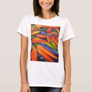 Birds Of Paradise Flower Painting Abstract T-Shirt