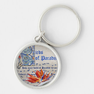Birds of Paradise Manuscript Silver-Colored Round Keychain