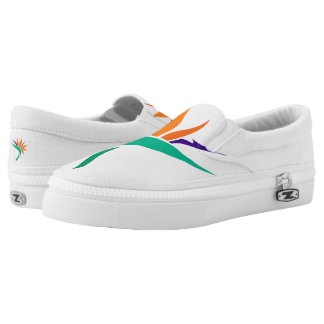 Birds of Paradise on White Slip-On Sneakers