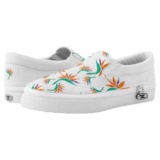 Birds of Paradise Pattern 1 on White Slip-On Sneakers
