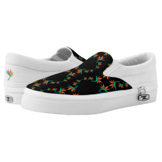 Birds of Paradise Pattern 2 on Black Slip-On Sneakers
