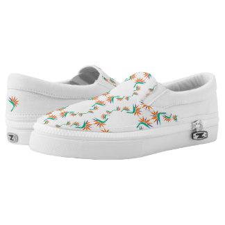 Birds of Paradise Pattern 2 on White Slip-On Sneakers