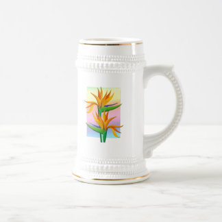 Birds of Paradise with Pastel Rainbow Background Beer Stein