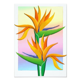 Birds of Paradise with Pastel Rainbow Background 5x7 Paper Invitation Card