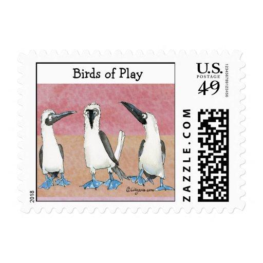 Birds of Play Colors Cartoon Postage