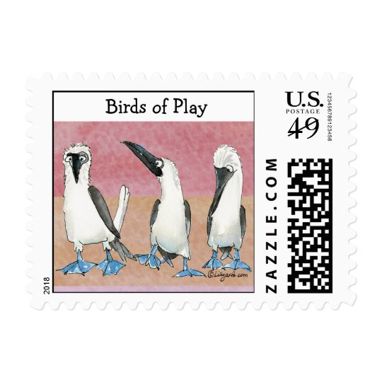 Birds of Play Colors Cartoon Postage