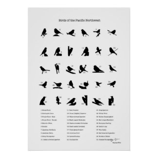 Birds of the Northwest (with names) Poster