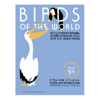 Birds of the World vintage WPA cover art Postcard