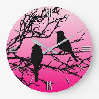 Birds on a Branch, Black Against Dawn Pink Large Clock