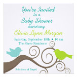 Birds on a Branch in Blue & Lime Custom Invite