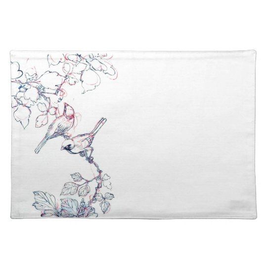 birds on a branch placemat