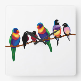 Birds on a branch square wall clock