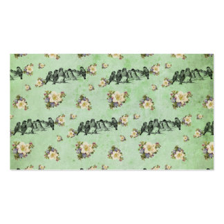 Birds on a Limb Floral on Green Double-Sided Standard Business Cards (Pack Of 100)