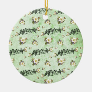 Birds on a Limb Floral on Green Double-Sided Ceramic Round Christmas Ornament