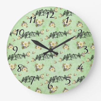 Birds on a Limb Floral on Green Large Clock