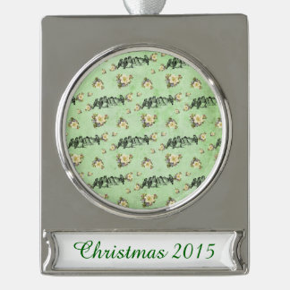 Birds on a Limb Floral on Green Silver Plated Banner Ornament