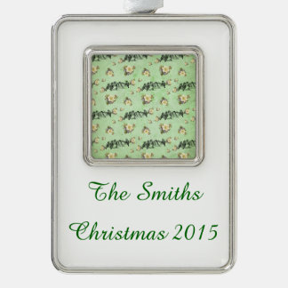 Birds on a Limb Floral on Green Silver Plated Framed Ornament