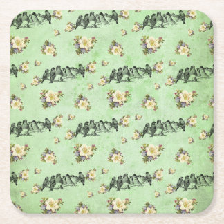 Birds on a Limb Floral on Green Square Paper Coaster