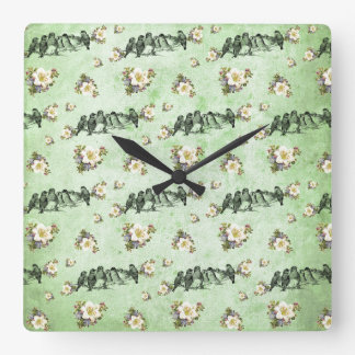 Birds on a Limb Floral on Green Square Wall Clock