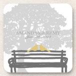 Birds on a Park Bench Wedding Anniversary Beverage Coaster