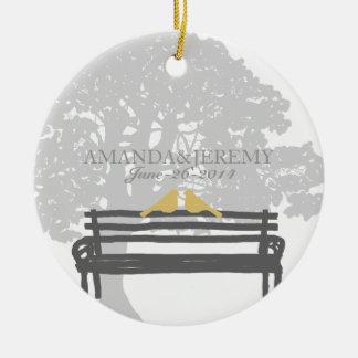 Birds on a Park Bench Wedding Anniversary Double-Sided Ceramic Round Christmas Ornament
