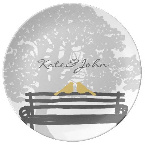 Birds on a Park Bench Wedding Anniversary Porcelain Plate