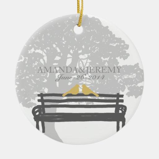 Birds on a Park Bench Wedding Anniversary Christmas Tree Ornaments