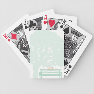 Birds on a Park Bench Wedding Bicycle Playing Cards