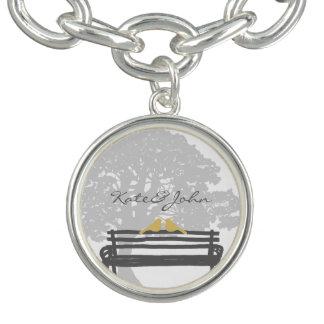 Birds on a Park Bench Wedding Charm Bracelet