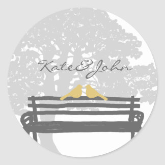 Birds on a Park Bench Wedding Classic Round Sticker
