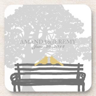 Birds on a Park Bench Wedding Coaster
