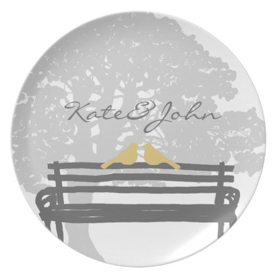 Birds on a Park Bench Wedding Dinner Plate