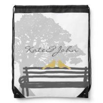 Birds on a Park Bench Wedding Drawstring Bag