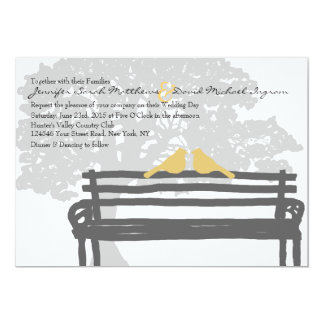 "Birds on a Park Bench Wedding Invitations 5"" X 7"" Invitation Card"