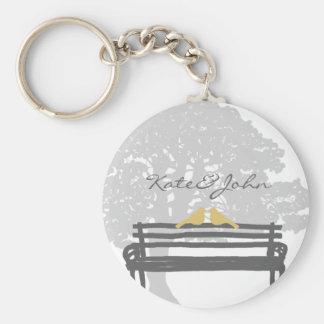 Birds on a Park Bench Wedding Basic Round Button Keychain