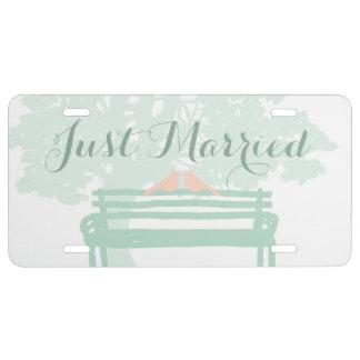 Birds on a Park Bench Wedding License Plate