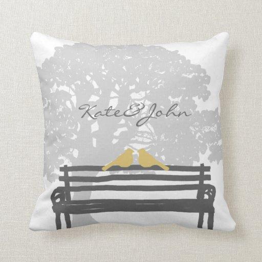 Birds on a Park Bench Wedding Pillows